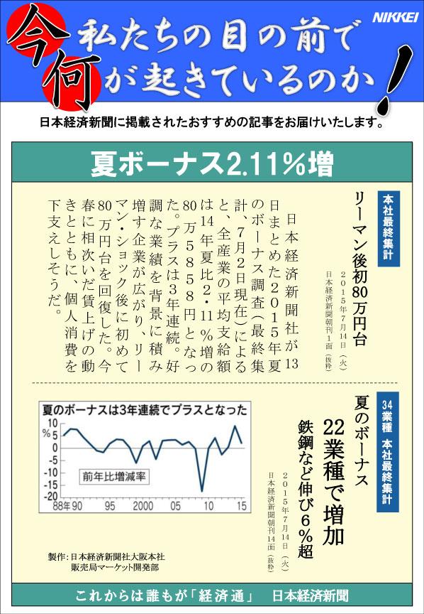 日本経済新聞MORI・MORIニュース 99号です。