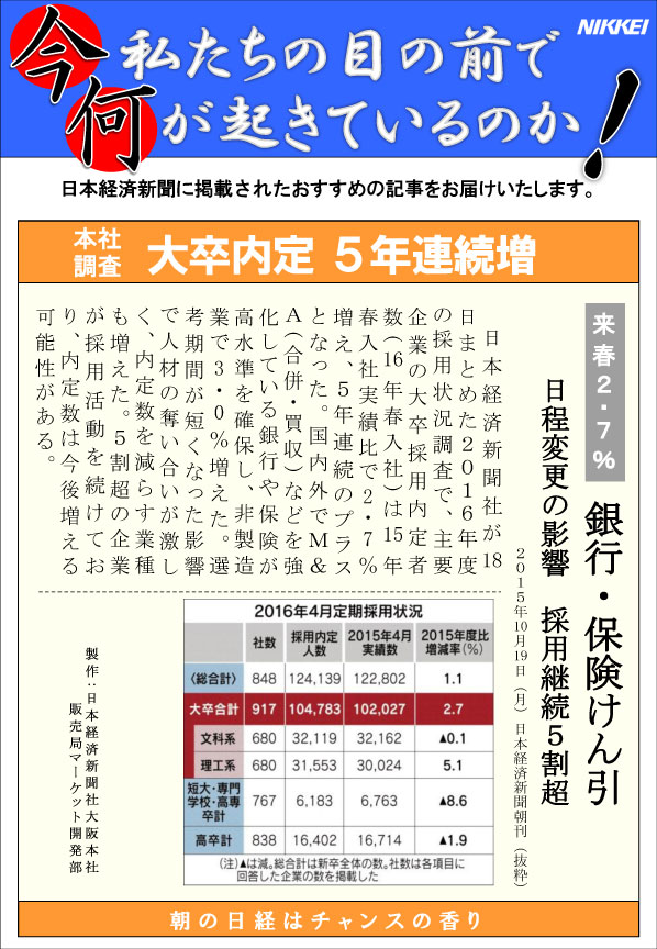 日本経済新聞MORI・MORIニュース 112号です。